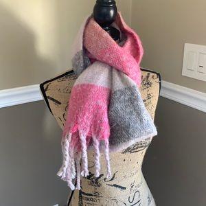 NWT Loft Scarf Wrap  Blush Pink & Gray Striped